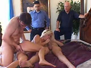 English  blonde wife ganged on Screw My Wife